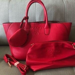 Prada Milano Red Leather Top-handle Tote